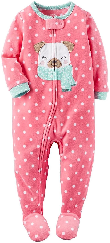Carter's Schlafanzug Fleece Einteiler Mädchen girl warm Weich Winter Reißverschluss (104/110, rosa) 357G155-Print-5T