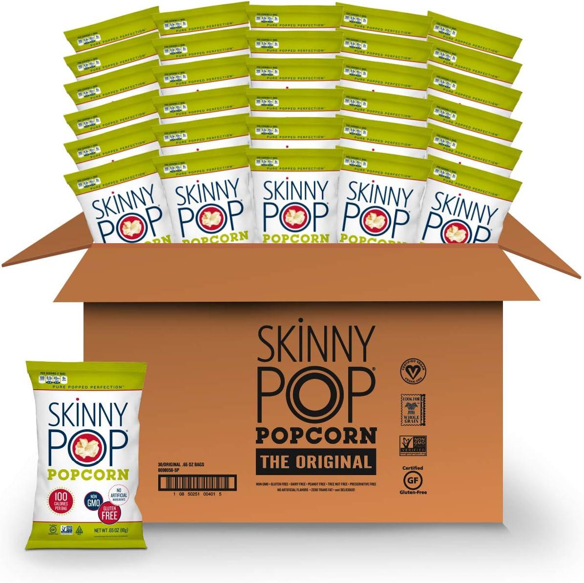 SkinnyPop Orginal Popcorn, 30ct, 0.65oz Individual Snack Size Bags, Skinny Pop, Healthy Popcorn Snacks, Gluten Free
