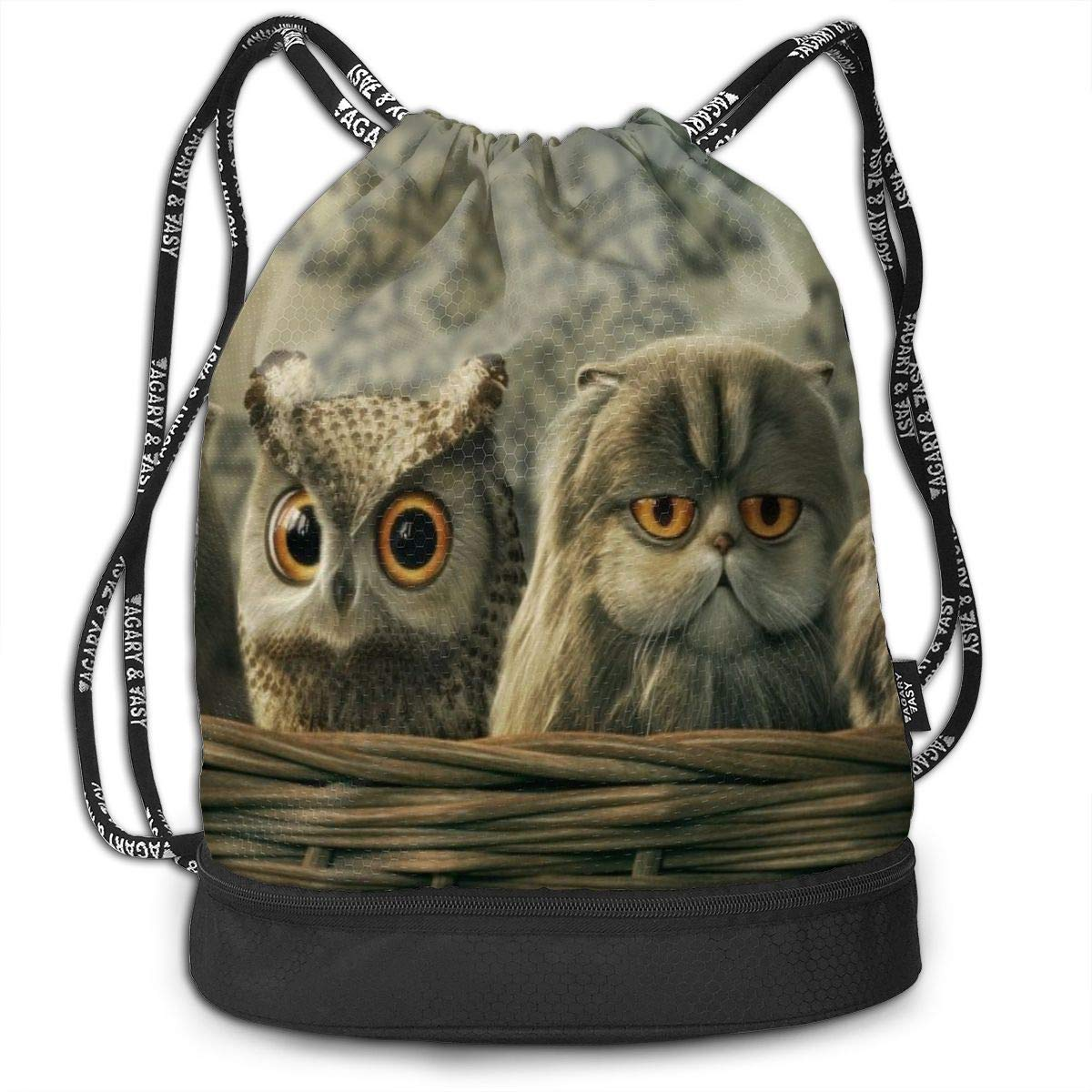 Fashion Outdoor Zipper Drawstring Bag Cat Owl1 Printed Bundle Backpack for Men Women Unisex Multi-Function Backpack