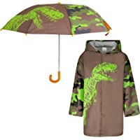 Kids Umbrella and Raincoat Set for Boys and Girls Ages 3-7 (Dinosaur Design)