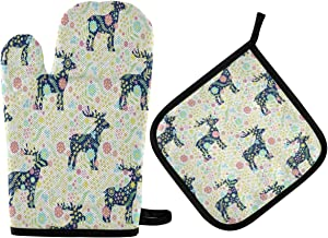 N\ A Animal Deer Chic Paisley Flower Oven Mitts and Potholder Set-Heat Resistant Oven Gloves to Protect Hands and Surfaces with Non-Slip Grip, Hanging Loop for Handling Hot Cookware Items