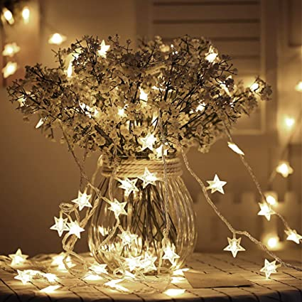 Tencoz Star String Lights,Battery Operated String Lights With 50 LED Star Curtain  Lights For