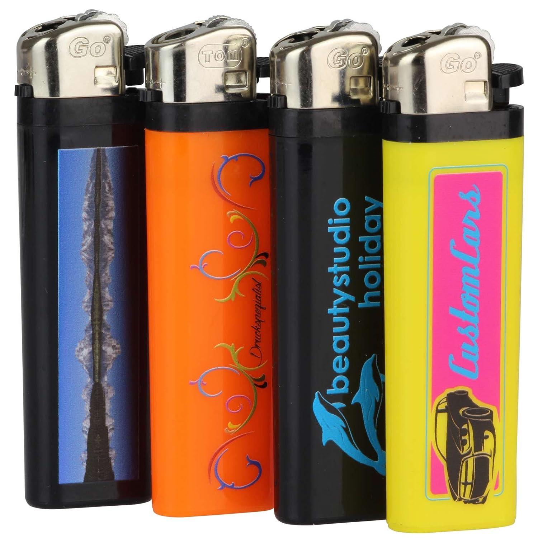 Druckspezialist 100 Feuerzeuge Reibrad einseitig mit Fotodruck 4-farbig Logo von Ihrer Datei Logo 4-farbig Werbung 10-2000 Stück a88863