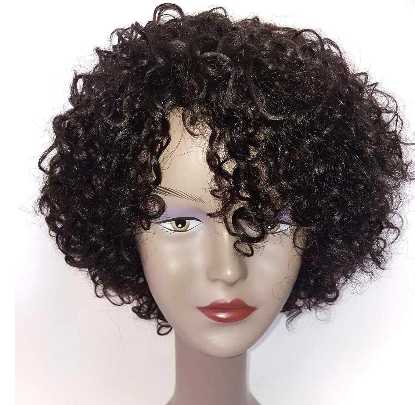 Brazilian Wigs 10 inch Short Deep Curly Human Hair Wigs For Black Women Short Bob Wigs No Lace Front Natural Color Side Part by HUA