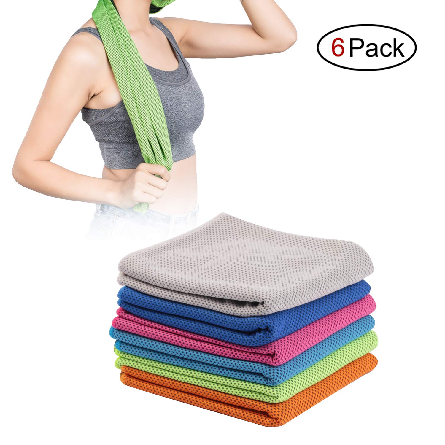 Mudax 6 Pack Cooling Towel, Ice Towel for Neck Instant Cooling, Chilly Towels for Men Women Kids, Super Absorbent Microfiber Towel for Athletes, Workout, Sports, Fitness, Gym, Running, Camping