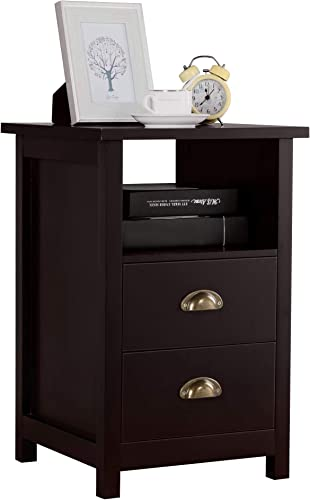 Topeakmart Wood Side End Table Nightstand with 2 Drawer and Open Shelf Storage Cabinet Bedroom Living Room Furniture, Espresso