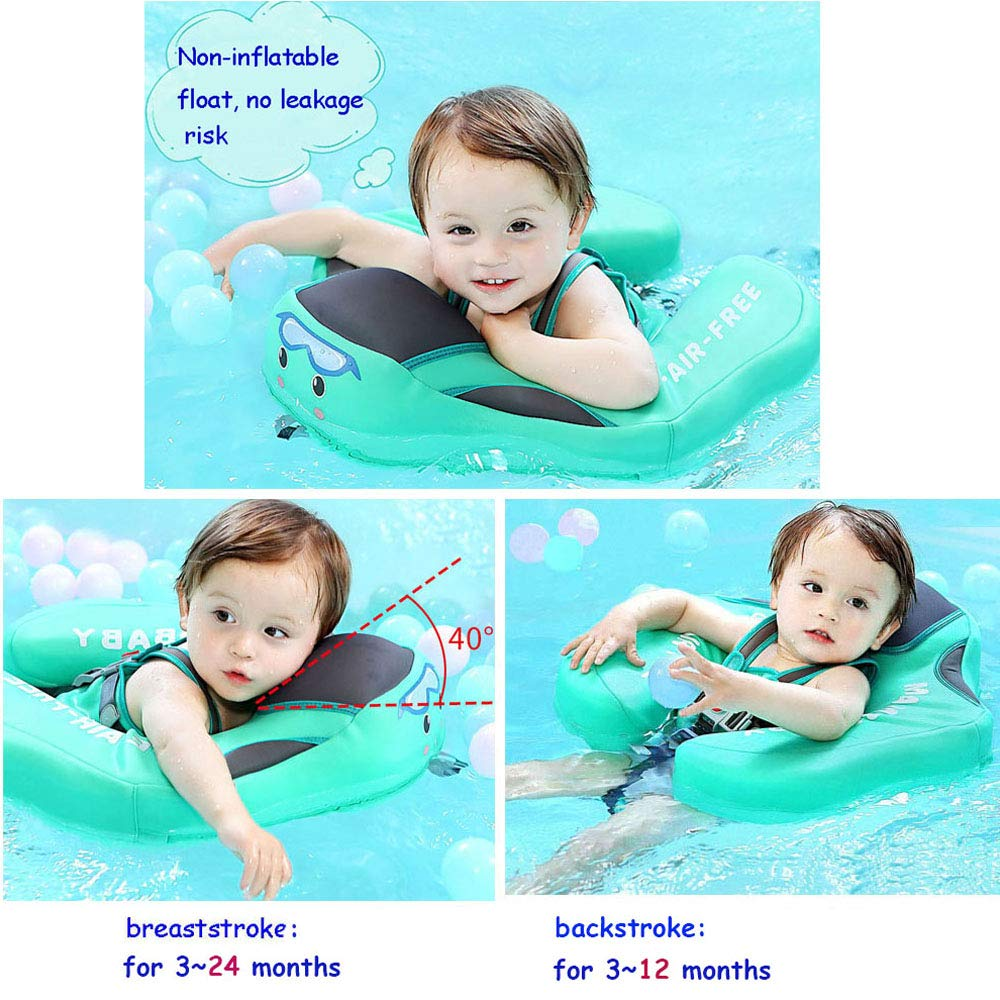 V Convey Upgraded Baby Infant Soft Solid Non-Inflatable Mambobaby Float Lying Swimming Ring Children Waist Float Ring Floats Pool Toys Swimming Pool Swim Trainer Classic Swim Ring (Green Cloth) by V Convey (Image #2)
