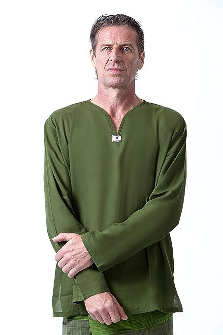 c49edb54b40 Men Renaissance Medieval Green Cotton T Shirt V Neck Hippie Pirate  Fisherman Beach Kurta Yoga at Amazon Men s Clothing store