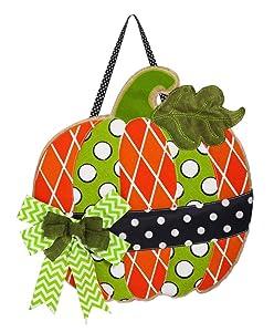 Evergreen Flag Polka Dot Pumpkin Burlap Door Decor