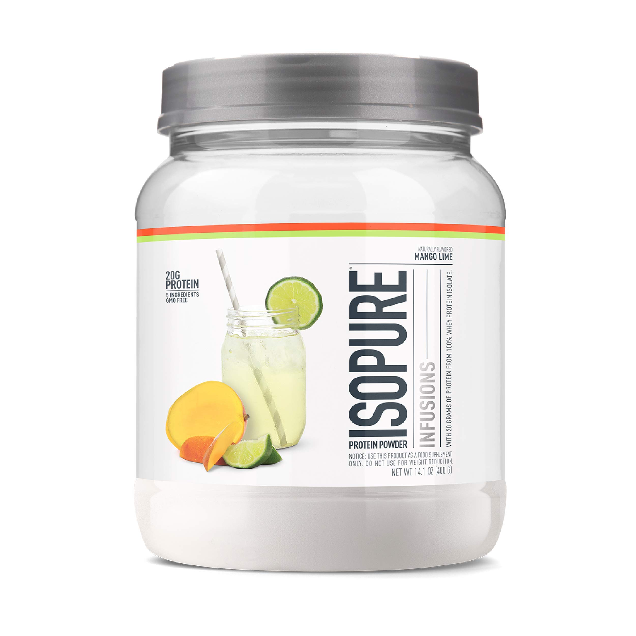 Isopure Refreshingly Light Fruit Flavored Whey Protein Isolate Powder, ''Shake Vigorously & Infuses in a Minute'', Mango Lime, 16 Servings by Isopure