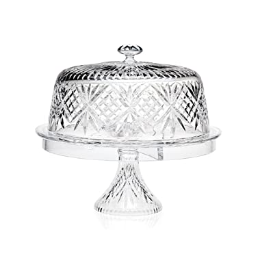 Godinger Glass 4-in 1 Multifunctional Cake -and-Dessert Serving Stand Bowl with Dome Lid