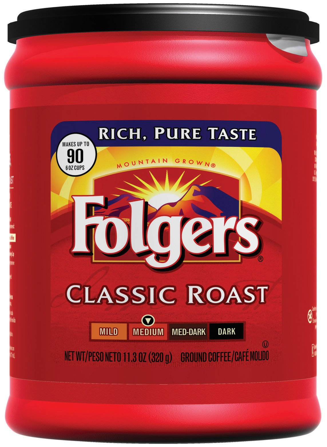 Folgers Classic Roast Ground Coffee, 11.3 Ounce (Pack of 6) by Folgers