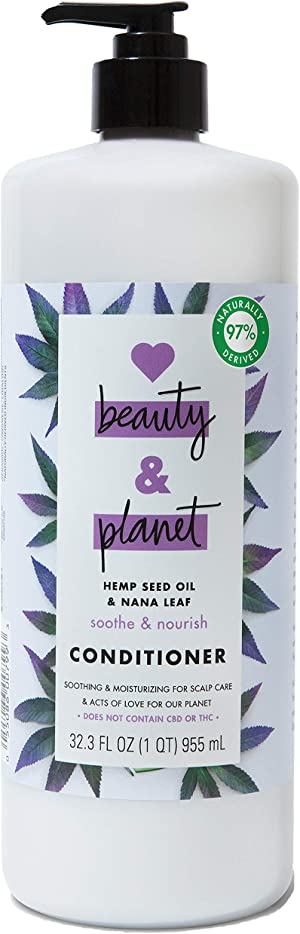 Love Beauty And Planet Soothe & Nourish Dry Hair Conditioner Clean Scalp and Nourished Hair Care Hemp Seed Oil & Nana Leaf Paraben Free, Silicone Free and Vegan 32.3 oz