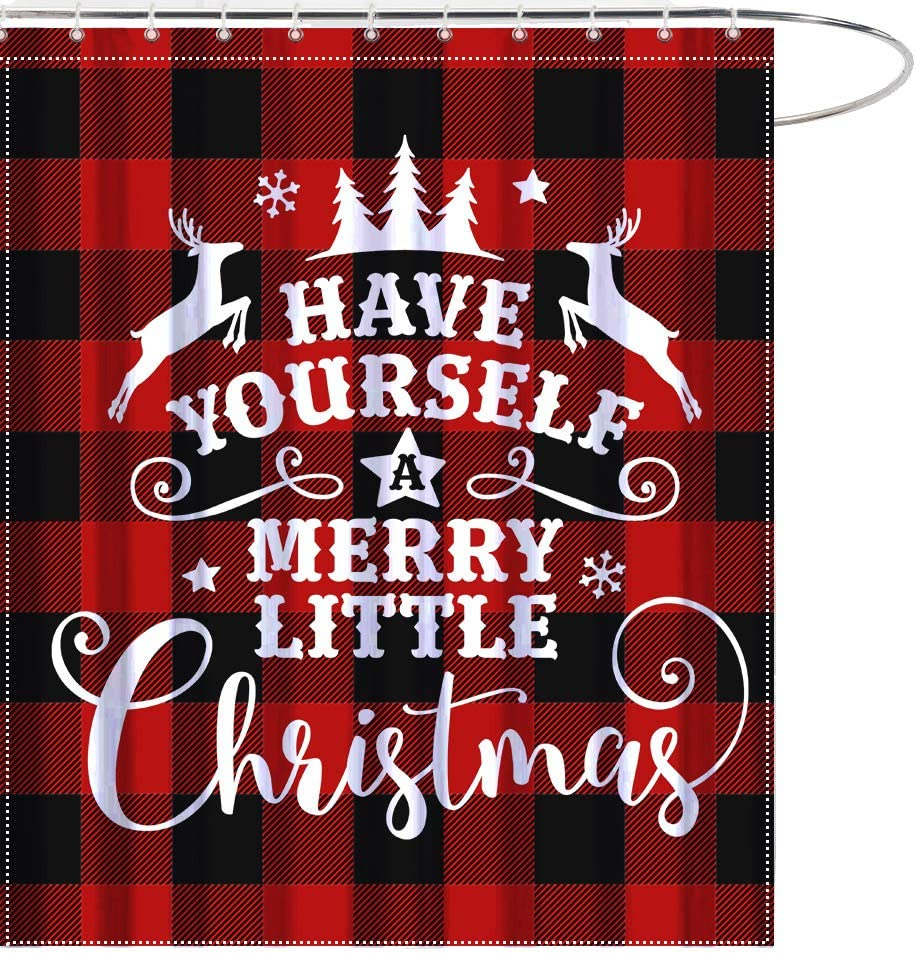 MAEZAP Merry Little Christmas Shower Curtain Red Black Buffalo Bathroom Decor Waterproof Polyester with Hooks 69x70 Inchs