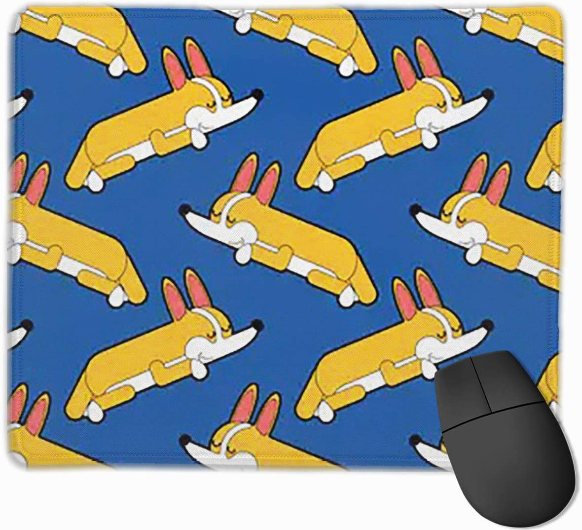 Joyce-life Corgi Sleeping Pattern Asleep Mouse Pads for Computers Laptop Non-Slip Rubber Base Stitched Edge Waterproof Office Mouse Pad Office Gaming Computer at Home Or Work Size 2530