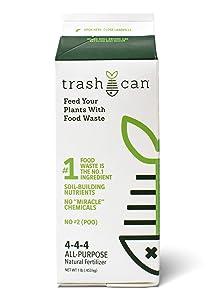 TrashCan, All Purpose Natural Fertilizer, 4-4-4 Food Waste Derived Soil Builder, 1 lb Box