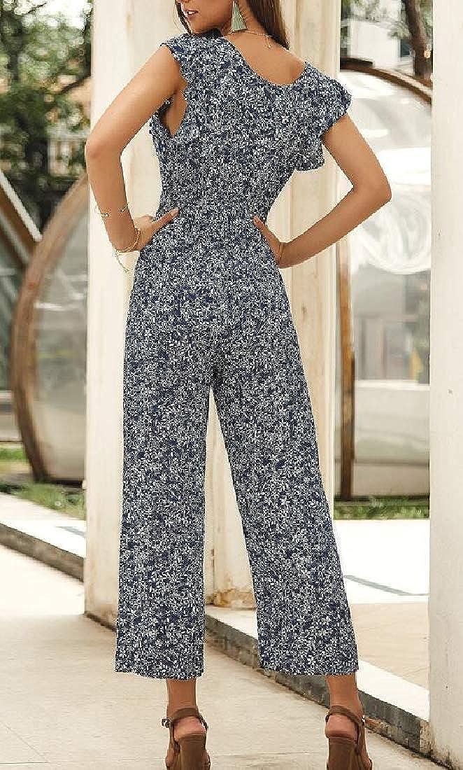 Joe Wenko Womens Casual V Neck Sleeveless Beach Floral Print Rompers Jumpsuit