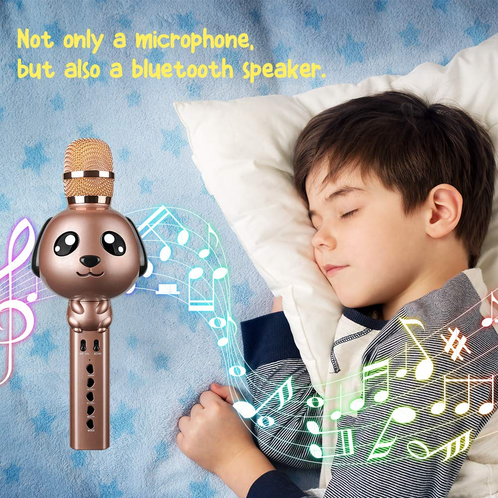 Leeron Karaoke Microphone, Kids Microphones Portable Handheld Wireless Bluetooth Karaoke Mic Machine for Home, Party, Birthday Gifts and Kids Girls Toys Age 5 6 7 8 9 by Leeron (Image #5)
