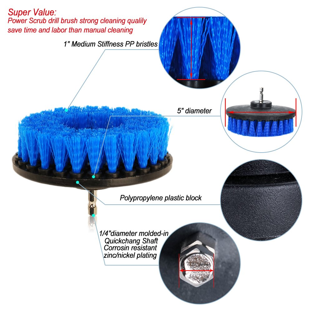 5 inch Power Drill Attachment Medium Duty Scrubbing Stiffness Scrub Cleaning Brush for Cleaning Bathroom Surfaces Tile Grout Showers OxoxO HSS-B/ürste