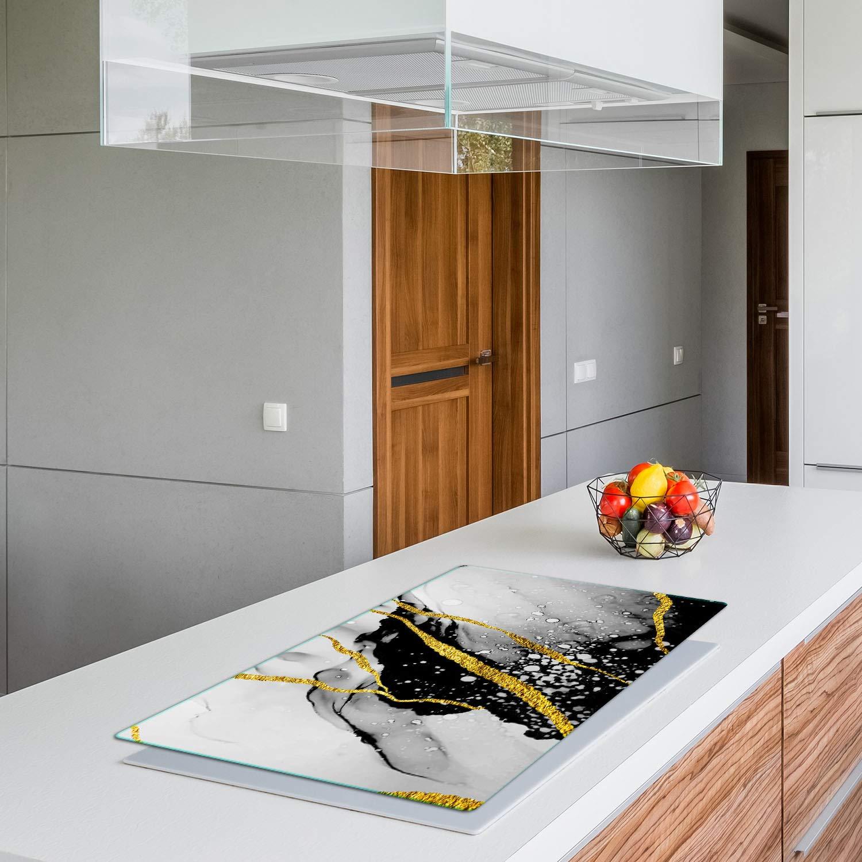 QTA Plaque de protection pour plaque de cuisson 90 x 52 cm Ceranfeld Couvercle en verre anti-/éclaboussures Plaque de plaque de cuisson en or noir