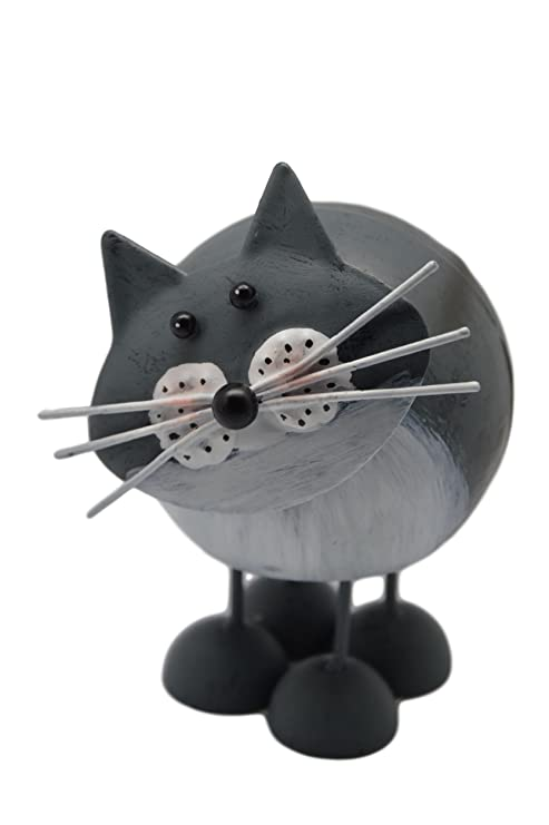 Fountasia - Gatos decorativos de metal con muelles , gris