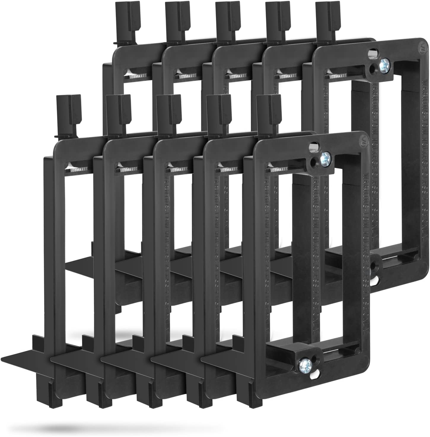 Low Voltage Mounting Bracket (1 Gang, 10 Pack), Fosmon Low Voltage Mounting Bracket (Mounting Screws Included) for Telephone Wires, Network Cables, HDMI, Coaxial, Speaker Cables