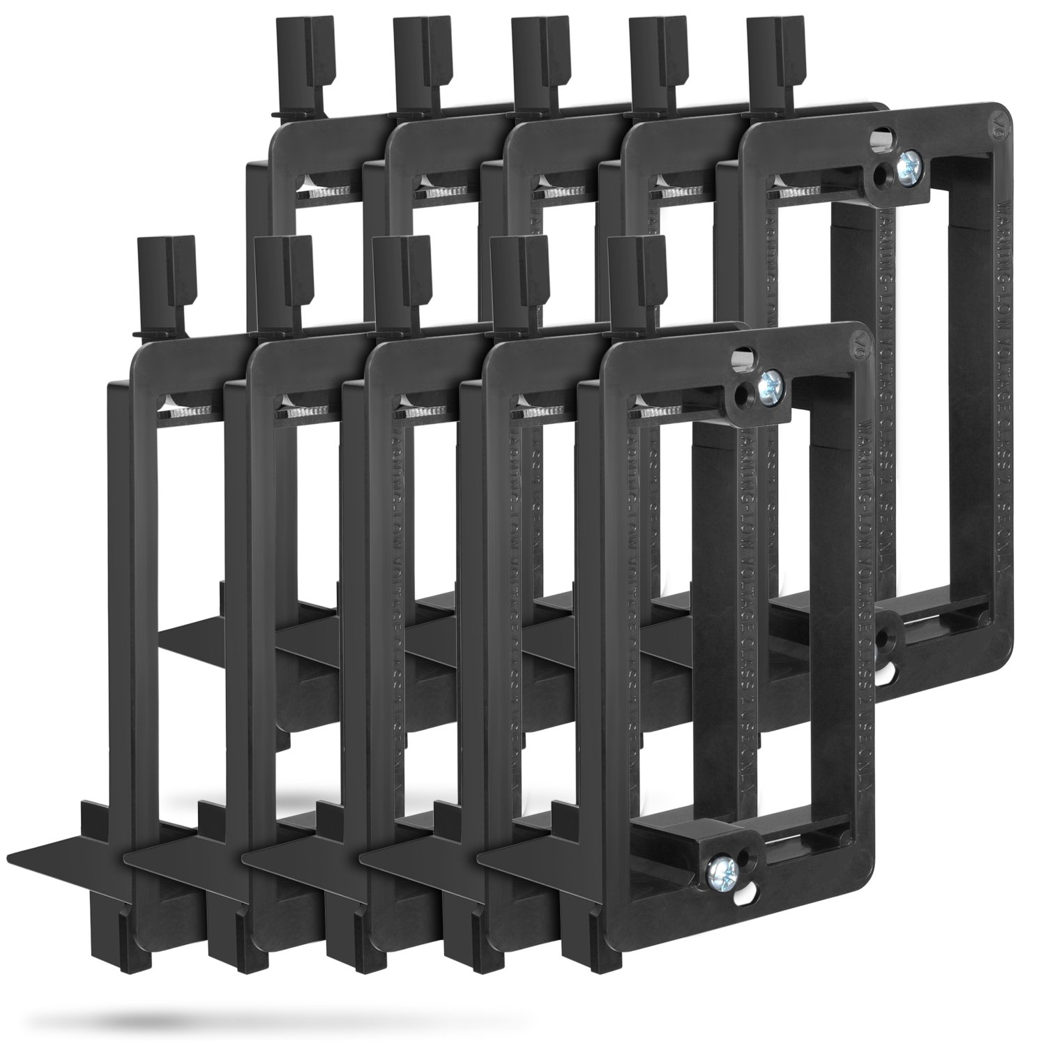 Low Voltage Mounting Bracket (1 Gang, 10 Pack), Fosmon Low Voltage Mounting Bracket [Mounting Screws Included] for Telephone Wires, Network Cables, HDMI, Coaxial, Speaker Cables