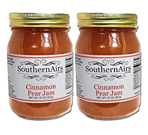 SouthernAirs Cinnamon Pear Jam / unique rich specialty Jam / Delicate blend of fruit and spice / 20 oz. (2 - 20oz Jars (2 pack))