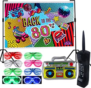9 Pack 80s Party Backdrop Decoration Supplies Set- Inflatable Retro Mobile Phone Boombox LED Shutter Shading Glasses Party Favors 80s 90s Hip Hop Glow Theme Birthday Decor