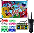 80s Party Backdrop Decoration Supplies Set- Inflatable Retro Mobile Phone Boombox LED Shutter Shading Glasses Party Favors 80s 90s Hip Hop Glow Theme Birthday Decor