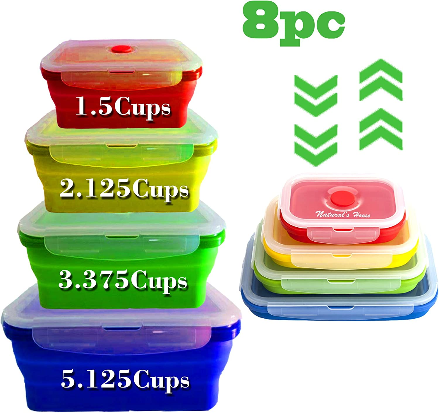 NATURAL'S HOUSE Collapsible - Reusable Insulated Food Preserving Storage Silicone Container- 8pcs(set of 4) BPA Free-FDA | Space Saver-Mix Colors
