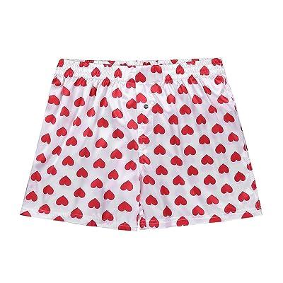 Yeahdor Men's Silky Satin Pattern Print Boxer Shorts Lounge Loose Pants Sissy Underwear Pajamas at Men's Clothing store