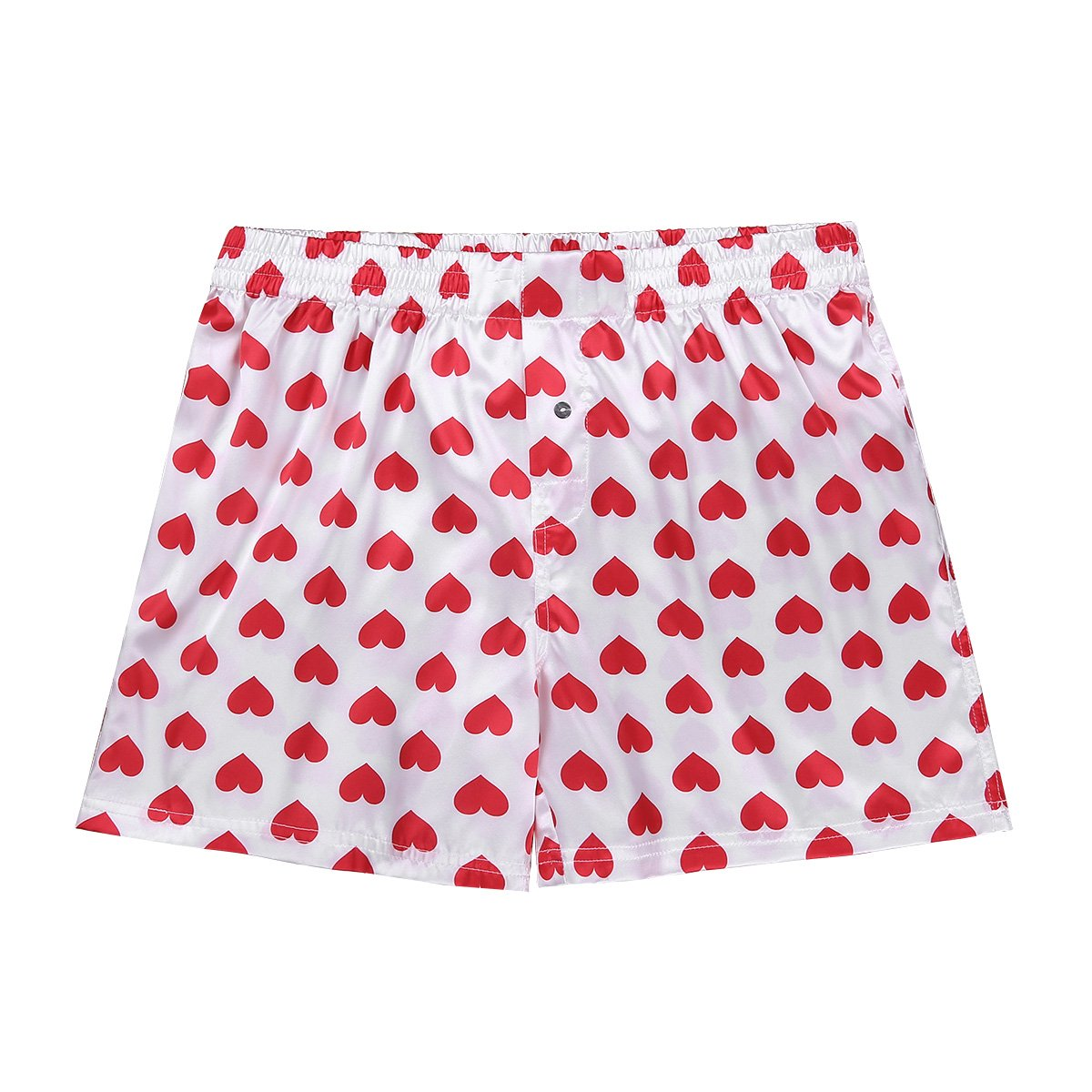 inhzoy Mens Love Heart Lips Print Shiny Silky Satin Boxer Shorts Loose Lounge Sports Trunks
