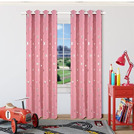 Kotile Girls Bedroom Curtain For Starry Night Twinkle Blackout Curtains, 2  Panels Grommet Top Silver