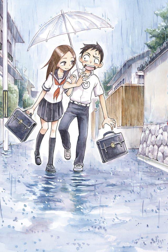 高木さんに相合傘で腕を組まれ動揺している西片くんのからかい上手の高木さんの壁紙