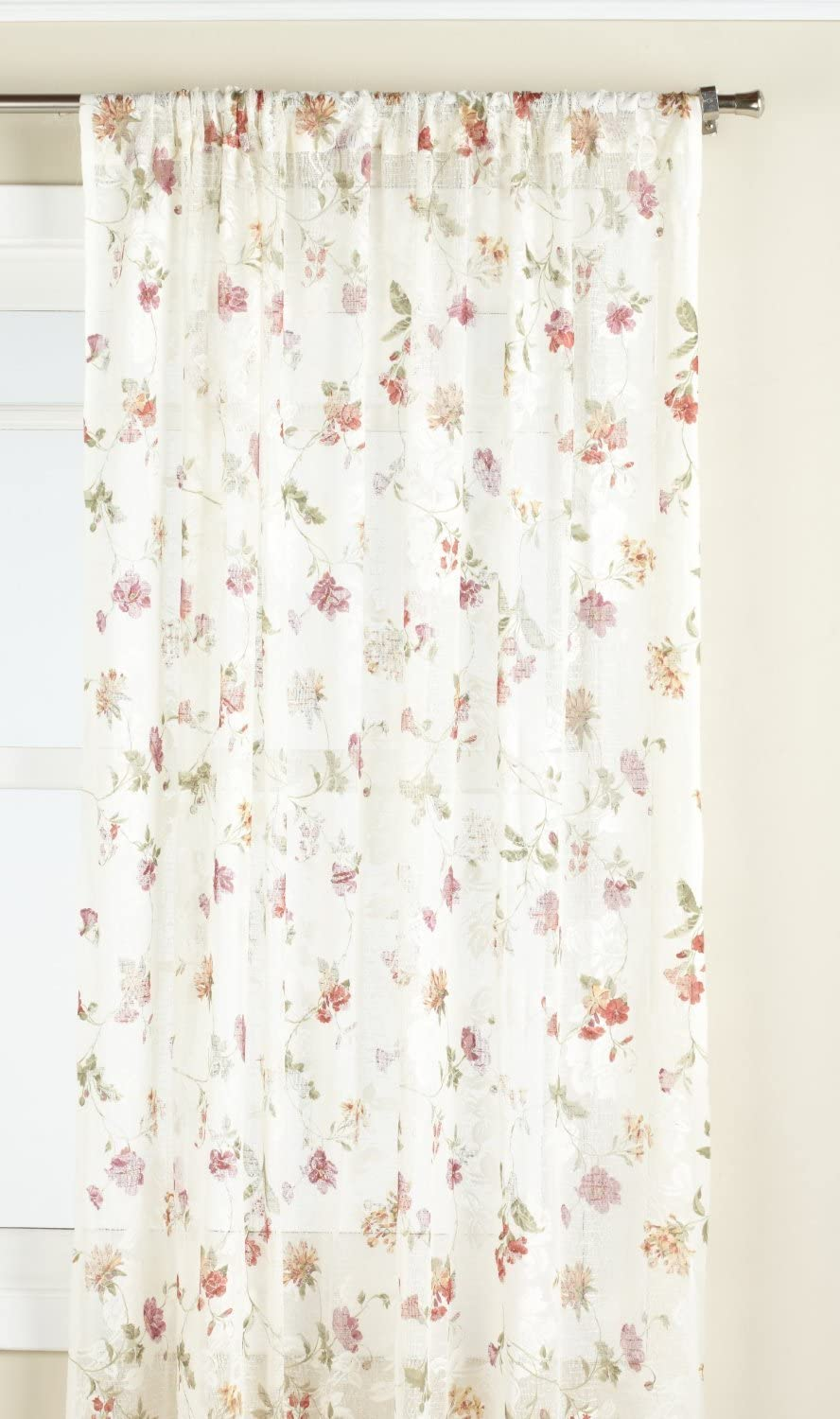 LORRAINE HOME FASHIONS Brewster Lace Tailored Window Treatment Panel, 50 by 84-Inch, Ivory