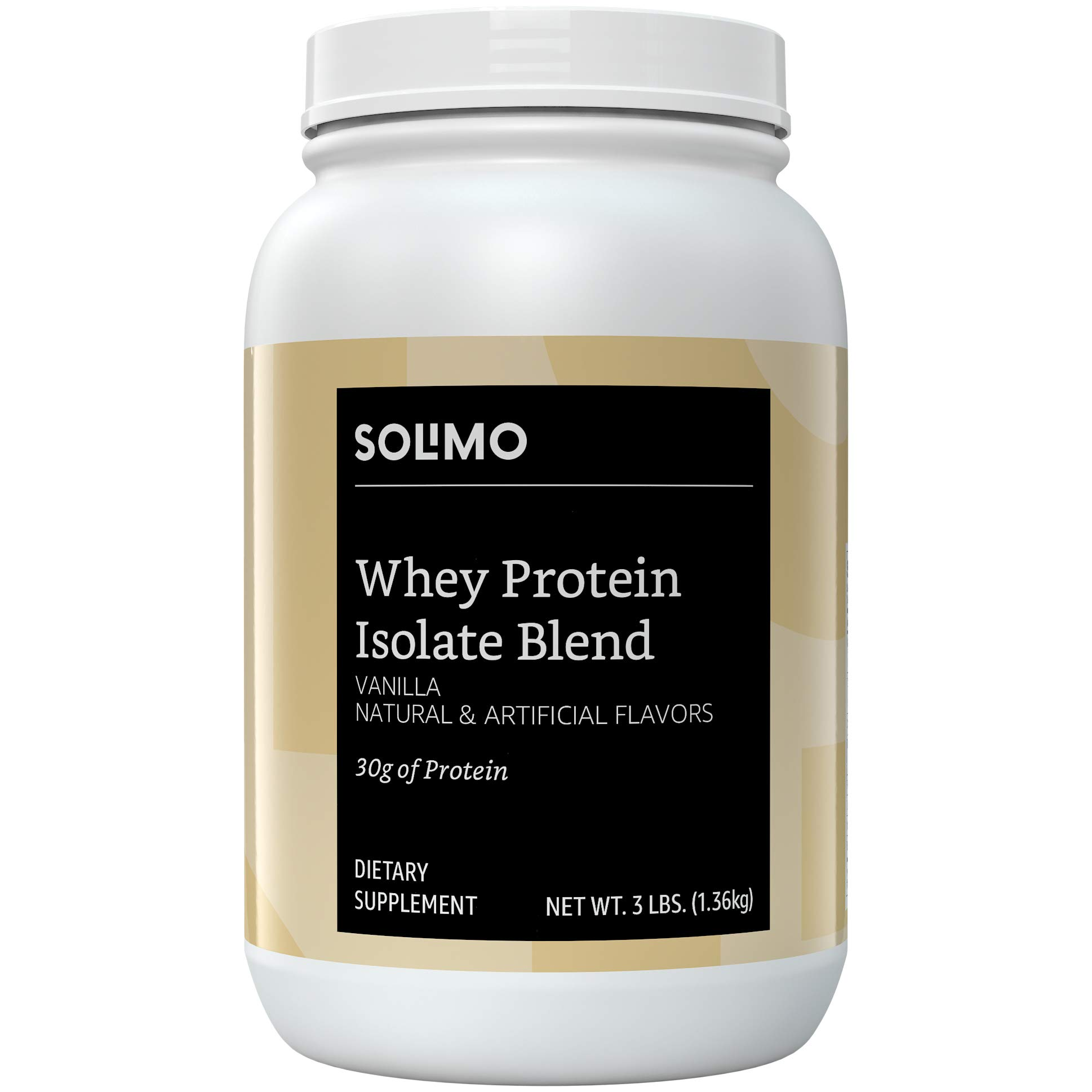 Amazon Brand - Solimo Whey Protein Isolate Blend, Vanilla, 3 Pound (35 Servings)