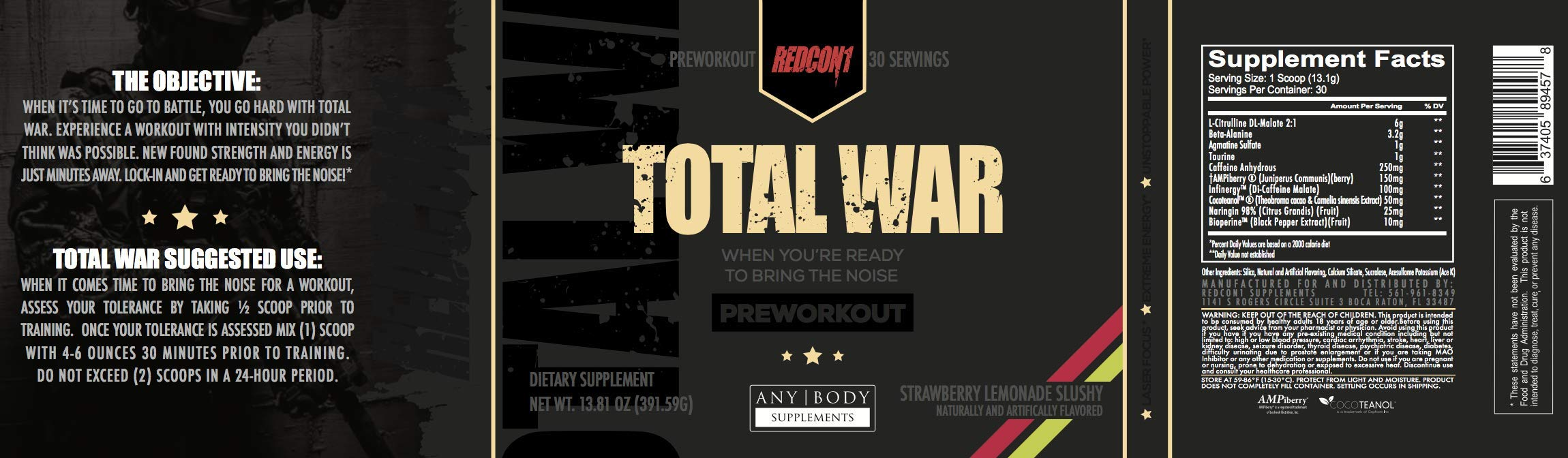 Total War - Pre Workout - 30 Servings - Newly Formulated (Strawberry Lemonade Slushy)   Limited Edition Any Body Supplements Exclusive by Redcon1 (Image #6)