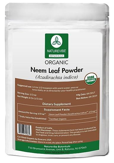 Naturevibe Botanicals USDA Organic Neem Leaf Powder (8 Ounces) -  Azadirachta Indica - 100%