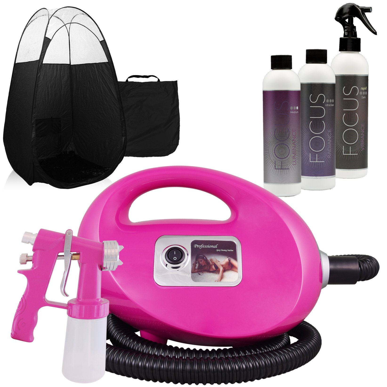 Pink Fascination FX Spray Tanning Kit with Tan Solution and Black Tent