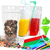 100 PCS Zipper Clear Stand-Up Plastic Pouches Bags with 100 Drink Straws, Heavy Duty Hand-Held Translucent Reclosable Heat-Proof Bag 2.4 Bottom Gusset