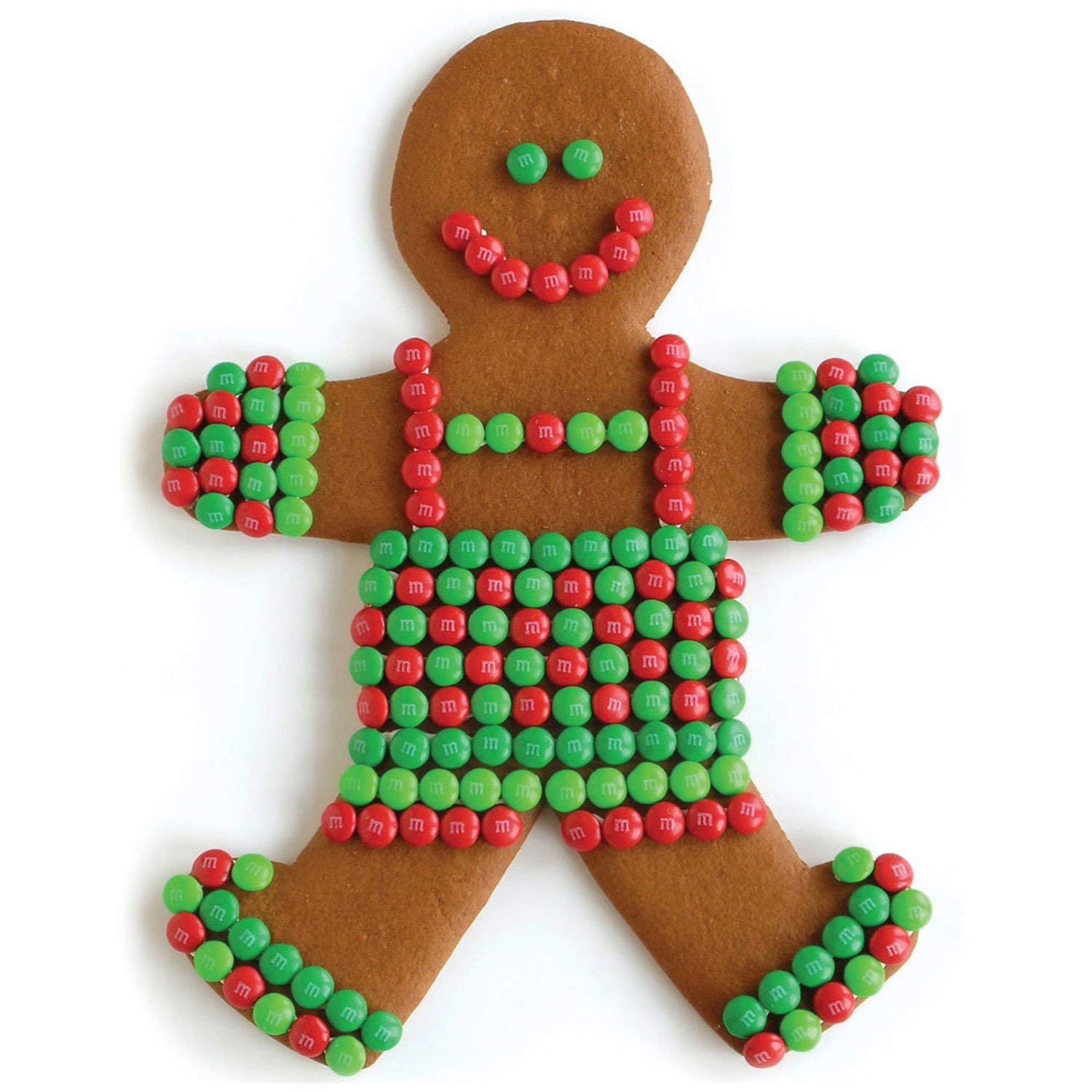 Sweet gingerbread people cookies decorated with red and green mini M&Ms for the holidays! #cookiedecorating #gingerbreadcookies #holidaybaking #christmascookies