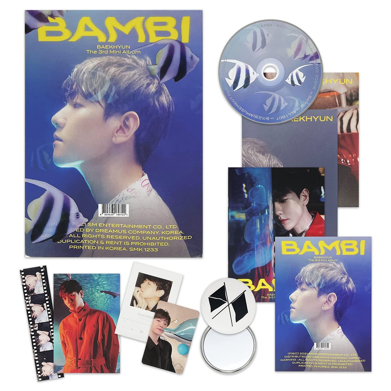 EXO BAEKHYUN 3rd Mini Album - BAMBI [ PHOTOBOOK(BAMBI) ver. ] CD + Photobook + Lyrics Book + Folded Poster(On Pack) + Clear Card + Sequence Flim + Postcard + Photo Card + OFFICIAL POSTER