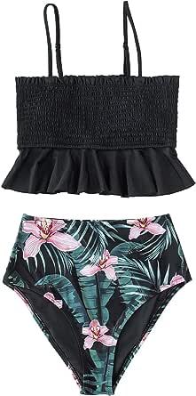 CUPSHE Women's Smocked Green and Monstera Ruffled High Waisted Bikini