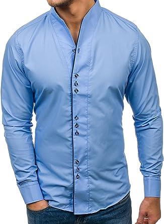 BOLF Hombre Camisa Elegante Manga Larga Color a Elegir Botones Casual Style 2b2 Azul Claro Large: Amazon.es: Ropa y accesorios