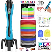 Stylo 3D Lovebay【2019 Nouvelle Version】3D Professionnel Pen Set Stylo d'Impression 3D avec Ecran LCD+12 Multicolores Filament PLA Φ1,75 mm,Total 120 pieds,Meilleur Cadeau-Pour Enfant et Adulte
