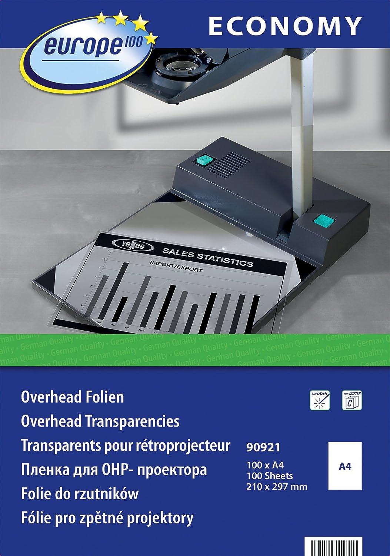 europe100 90921 Pack de 100 transparents pour rétroprojecteur, imprimante laser ou photocopieuse Transparent Format A4