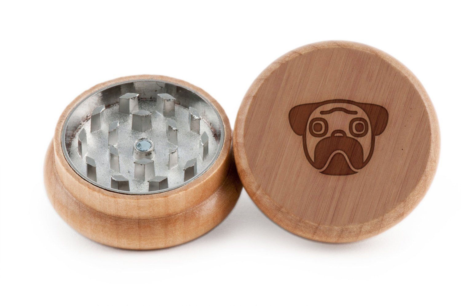 GRINDCANDY Spice And Herb Grinder - Laser Etched Pug Design - Manual Oak Pepper Grinder