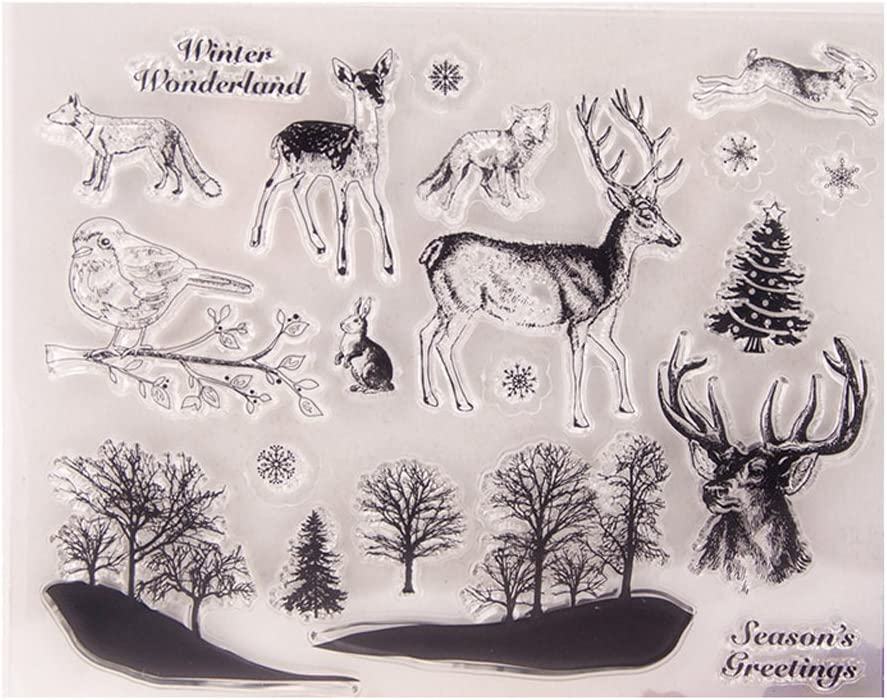 Numkuda Deer Birds Transparent Clear Silicone Stamp DIY Scrapbooking Photo Album Decor