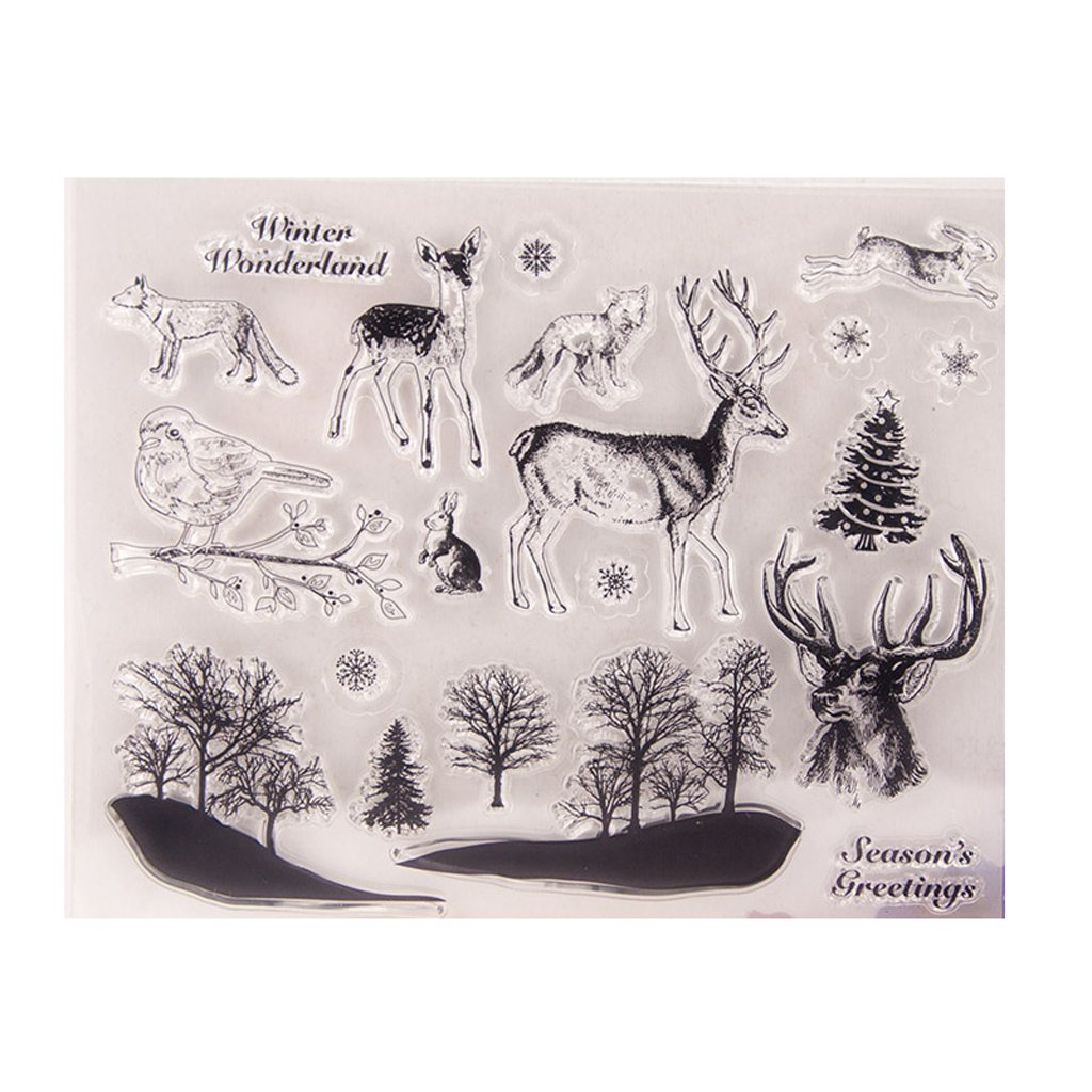 Lpyfgtp Deer Birds Transparent Clear Silicone Stamp DIY Scrapbooking Photo Album Decor Tool